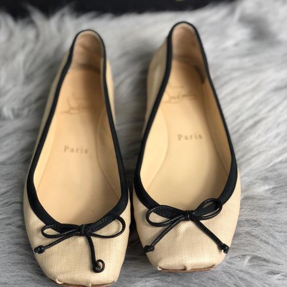 0a91cbbcd7a6 Christian Louboutin Shoes - Christian Louboutin Rosella Nude Black Flats Sz  36